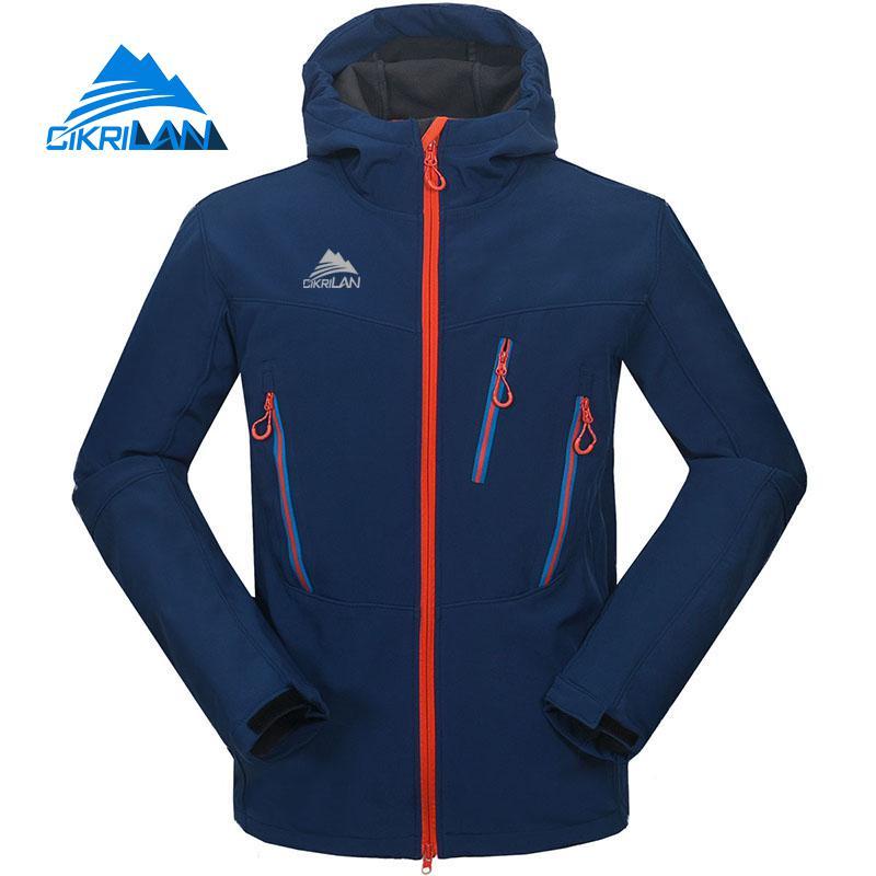2019 Men's Water Resistant Windstopper Outdoor Hiking Softshell Jacket Men Camping Cycling Ski Hooded Coat Fleece Inner Casacos