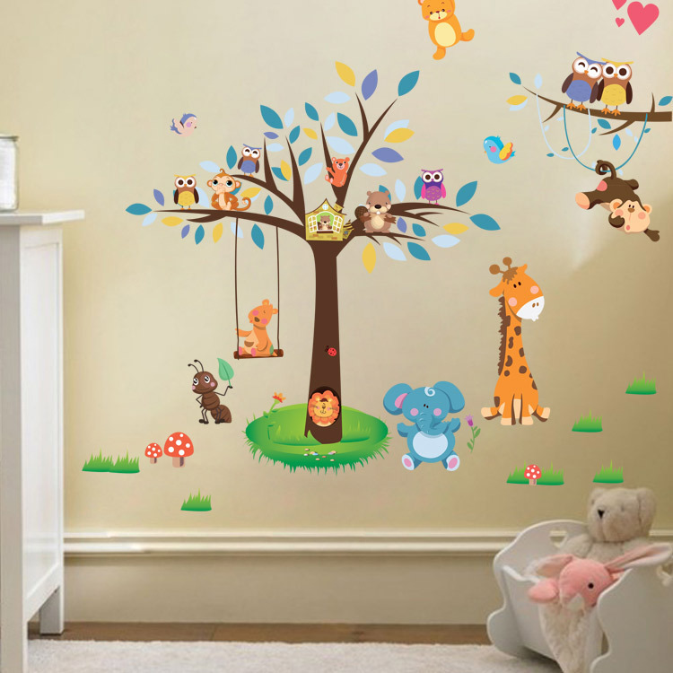 Jungle Forest Tree Animal Owl Monkey Bear Deer Wall Stickers Kids Baby Nursery Rooms Bedroom Wall Decal Wallpaper Home Decor