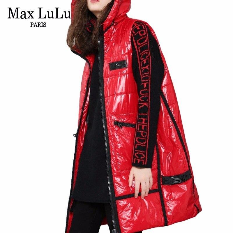 Max LuLu Luxury Korean Fashion Ladies Hooded Punk Waistcoat Womens Winter Puffer Vest Warm Chaleco Woman Long Coats Casual Gilet