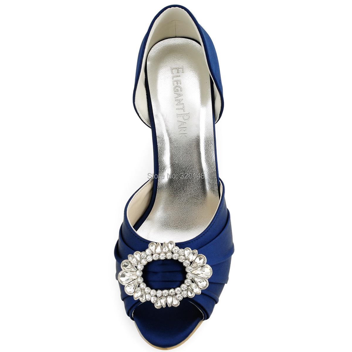 A2136 Shoes Woman High Heel Pumps Navy Blue Peep Toe Crystal Two Piece Satin Bridesmaid Ladies Evening Prom Wedding Bridal Shoes