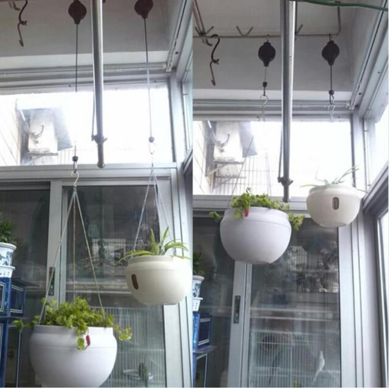 2PCS Retractable Pulley Hook Hanging Pull Down Hanger For Flower Plant Baskets Garden Hogard|Hanging Baskets| |  - title=