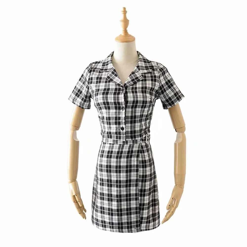 DEAT 2019 女性カジュアルスーツターンダウン襟ショートブラウスグレーのチェック柄ミニスカート ME614