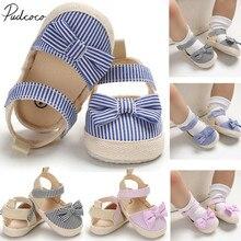 Детская летняя обувь для новорожденных девочек и мальчиков, мягкая обувь для младенцев, противоскользящие кроссовки в полоску с бантом для детей 0-18 месяцев