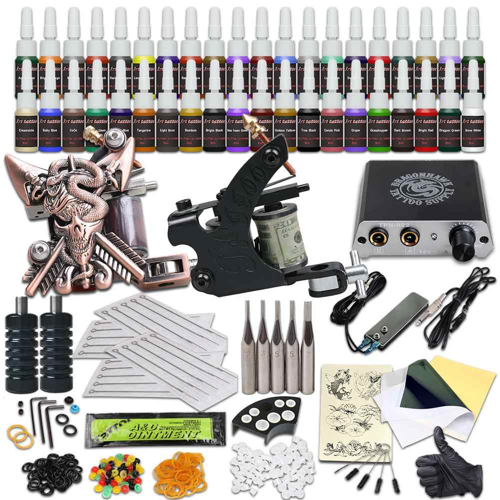 Beginner Compleet Tattoo Kit 2 Machine Gun 40 Color Ink Voeding Tip Naald
