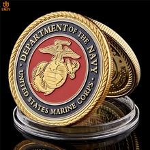 Морской корпус США отдел морского флота позолоченный Красочный военный металлический состязание, медаль США коллекционные монеты