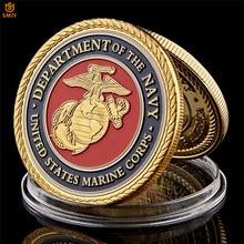Médaille de défi en métal plaqué or du département du Marine américain, pièces de collection