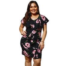 MagicPark XL-4XL Women Summer Dress Ruffles Above Knee V-neck Floral Wrap Print Short Sleeve Plus Size 2019 Clothes For
