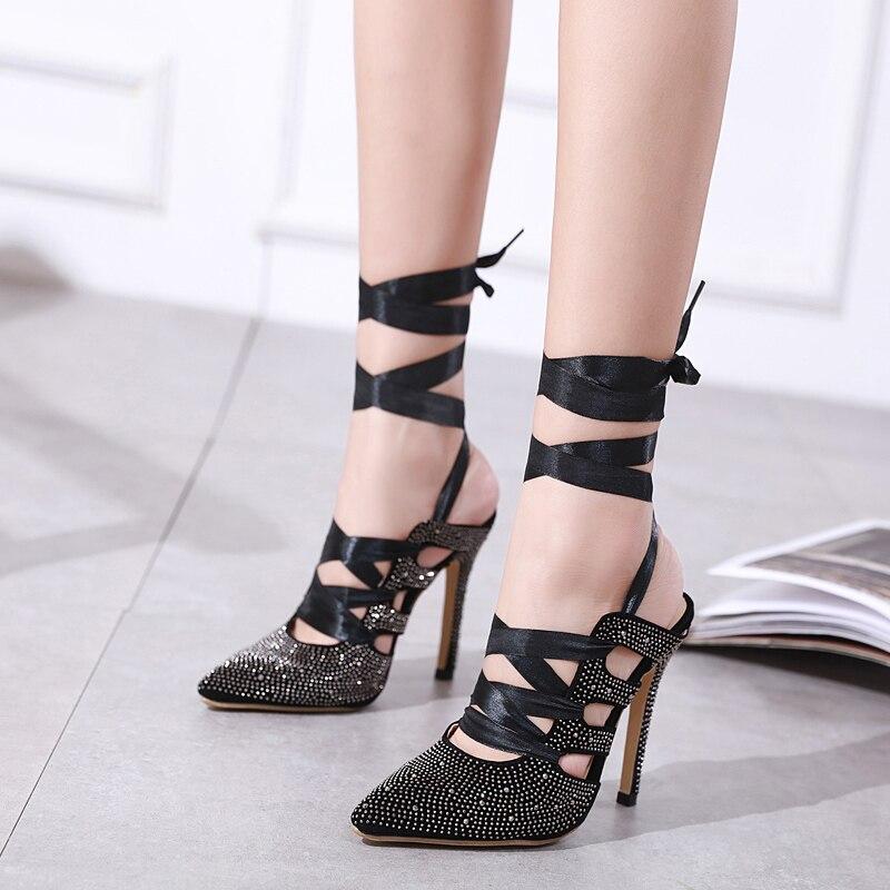Haute Sandales Printemps Femmes Chaussures Gbhhynlh Stilettos Gladiateur Cristal Talons Pointu Bling Noir Lja519 Bout Automne Pompes UYxYCqd7