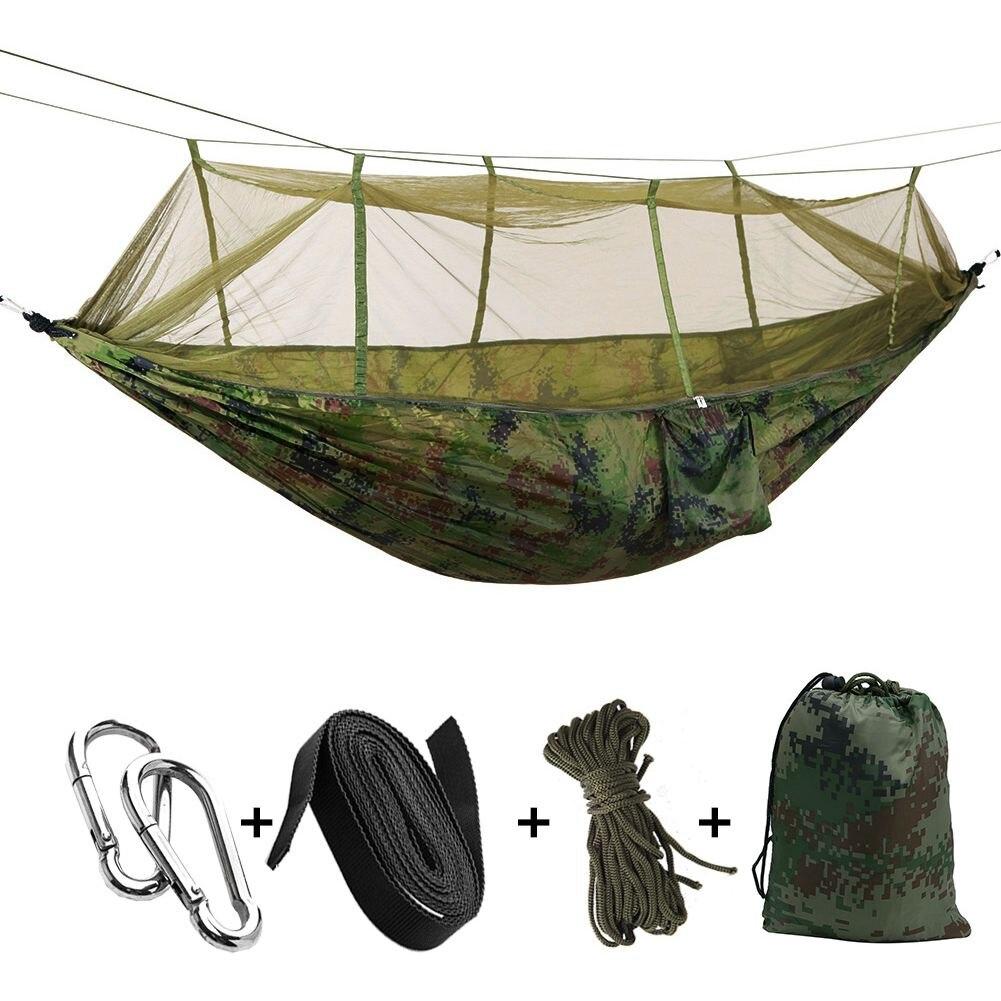 portatil de alta resistencia tecido parachute camping hammock hammock hanging bed com mosquiteiro para dormir