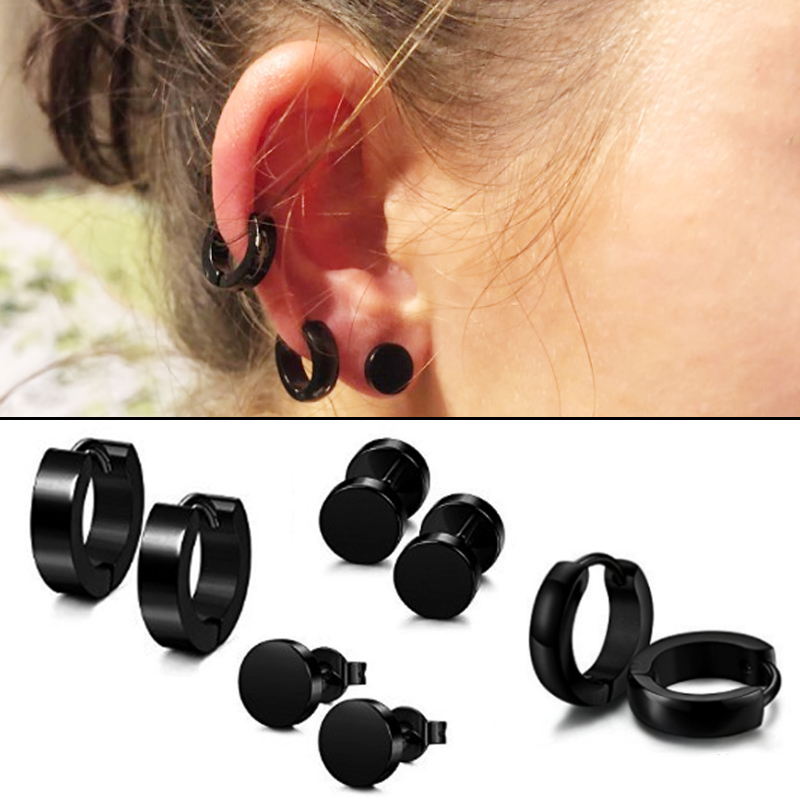 Punk Barbell <font><b>Earring</b></font> Gothic 4 Pairs/1 Set <font><b>For</b></font> Women <font><b>Men</b></font> Stainless Steel Piercing Hot Sale Black Color Different Types Shape image