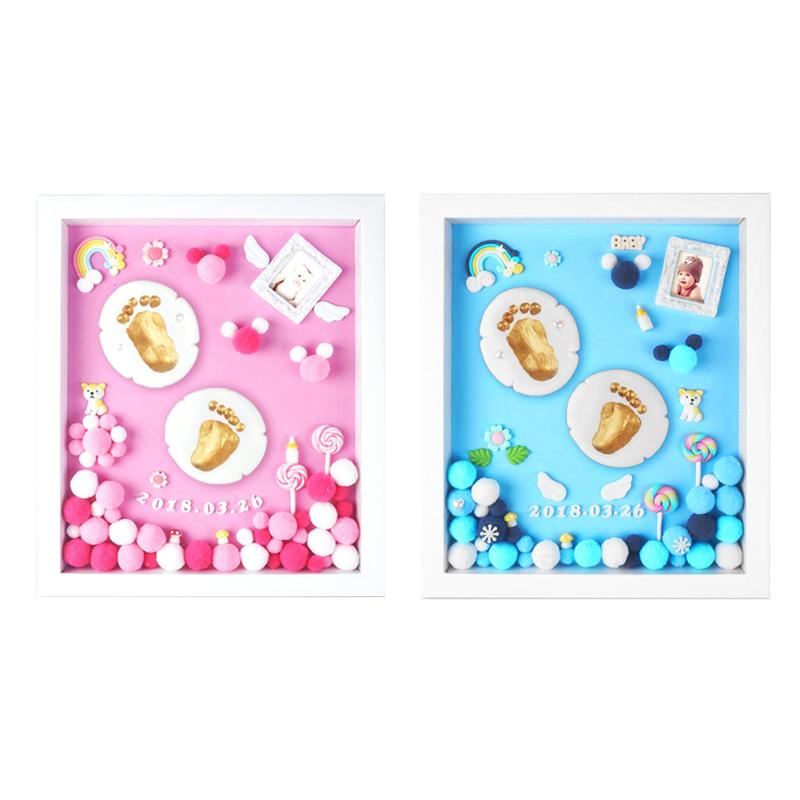 DIY Baby Hands Feet Mold Print Photo Frame with Cover Hand & Footprint Makers Growth Memorial Gift Baby Souvenirs