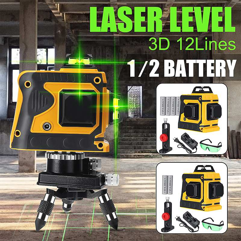 1/2 Battery 12 Green Line Laser Level+Base 532nm 3D 360 Degree Rotation Auto Leveling Horizontal Vertical Laser Beam1/2 Battery 12 Green Line Laser Level+Base 532nm 3D 360 Degree Rotation Auto Leveling Horizontal Vertical Laser Beam