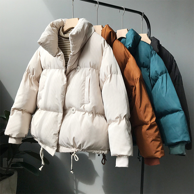 Thick Women Bread Jackets New Autumn Winter Turn Down Collar Loose Students Cocoon Coats Single Breasted Female Wadded Jackets