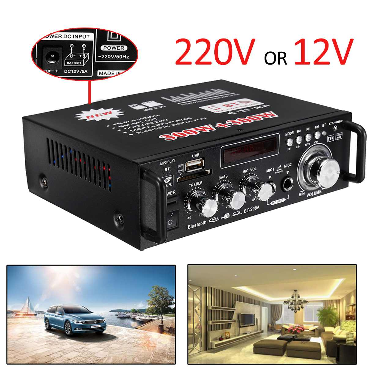 12V/ 220V BT-298A 2CH LCD Display Digital HIFI Audio Stereo Power Amplifier bluetooth FM Radio Car Home 600W with Remote Control