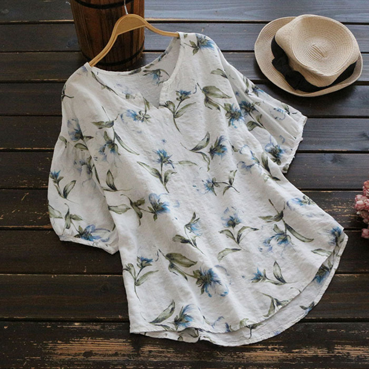 5XL Plus Size 2019 Summer Women Fashion Short Sleeve V Neck Floral Printed Loose   Blouses     Shirts   Casual Lace Tops   Shirts   Blusas