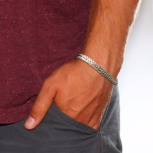 Браслеты мужские Стильная цепочка плетения «лисий хвост» из нержавеющей стали Silverly, для мужчин, цепь двойное плетение, браслеты, мужские ювелирные изделия 8,26 дюйма браслет мужской