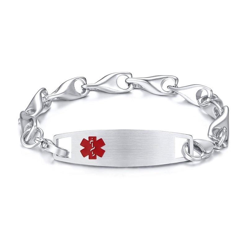 Red Symbol Pre-Engraved /& Customizable Peanut Allergy Alert Bracelet Oval Links My Identity Doctor