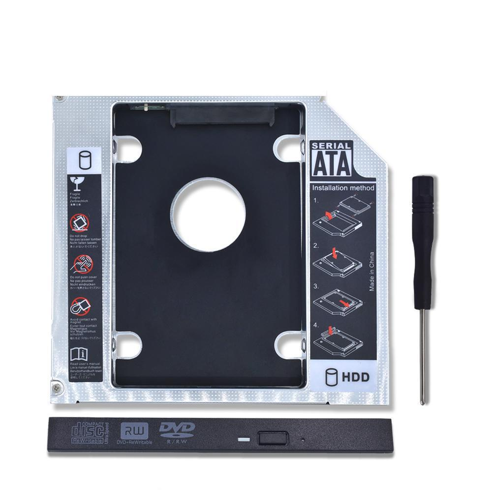 1pc Kphrtek Universal Aluminum 2nd HDD Caddy 12.7mm SATA 3.0 DVD Adapter For 2.5'' 7-12.5mm SSD Case Enclosure CD-ROM
