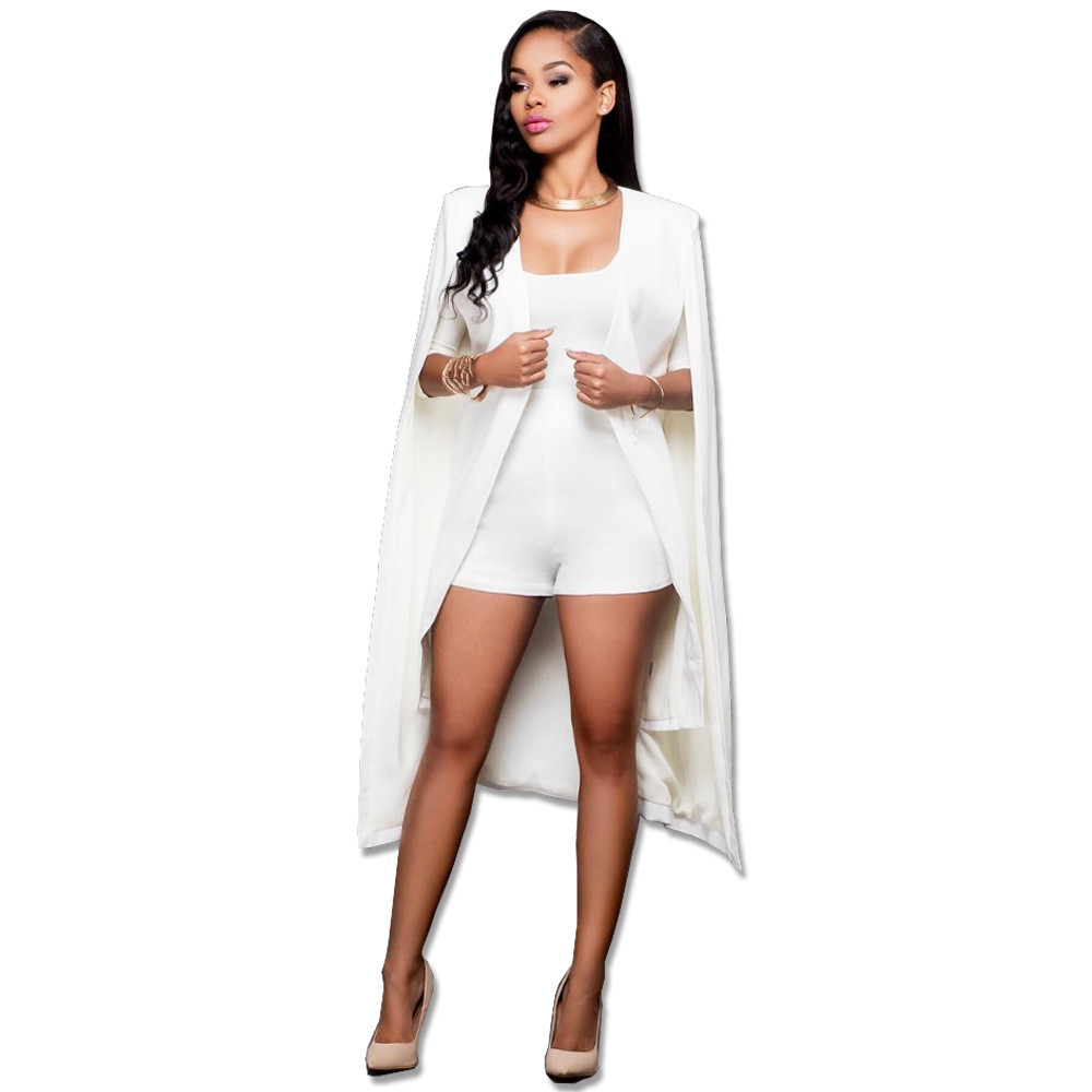 2019 Spring Women Elegant Blazer Solid Binding Open Front Cape Casual Blazer White Black Longline Plain Outerwear