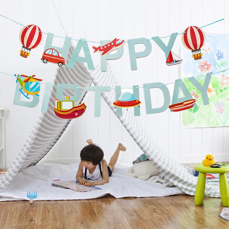 3M Cute Cartoon Happy Birthday Celebration Pull Flag Car Airplane Ship Banner Pull Flower Party Decoration Pendant image