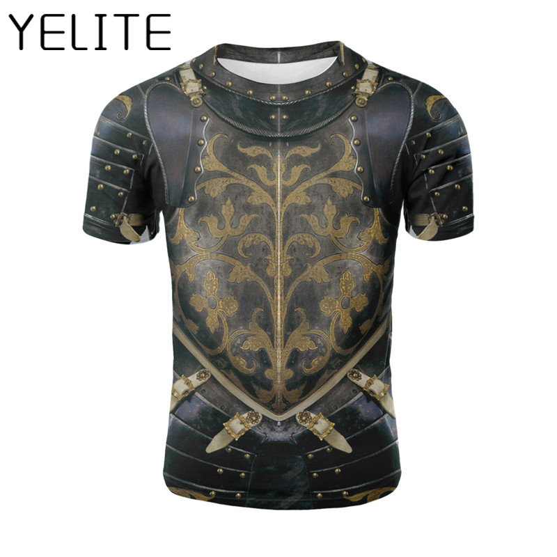 YELITE Fake Armour 3D T Shirt Compression Printed Tshirt Fitness Men T-shirt Streetwear Short Sleeve Tops Tee Armour Clothes