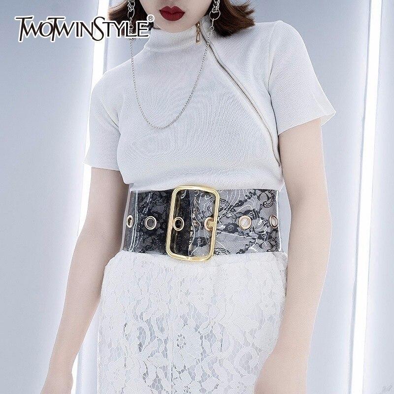 TWOTWINSTYLE PVC Womens Wide Belt For Women Lace Pattern Adjustable Female Waistbelt  Accessories 2020 Fashion Tide
