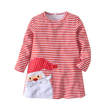 Toddler Baby Girls Dress Long Sleeve Red Striped Christmas Clothes Girl Clothing Santa Claus for 1 To 7 Years Old  Kids Gift