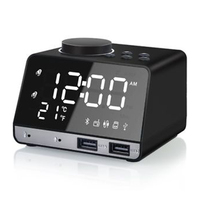 HOT LEDAlarm Clock Wireless Bluetooth Bass Speaker FM Radio Mirror LED Dual Alarm Clock USB Charger Drop shipping