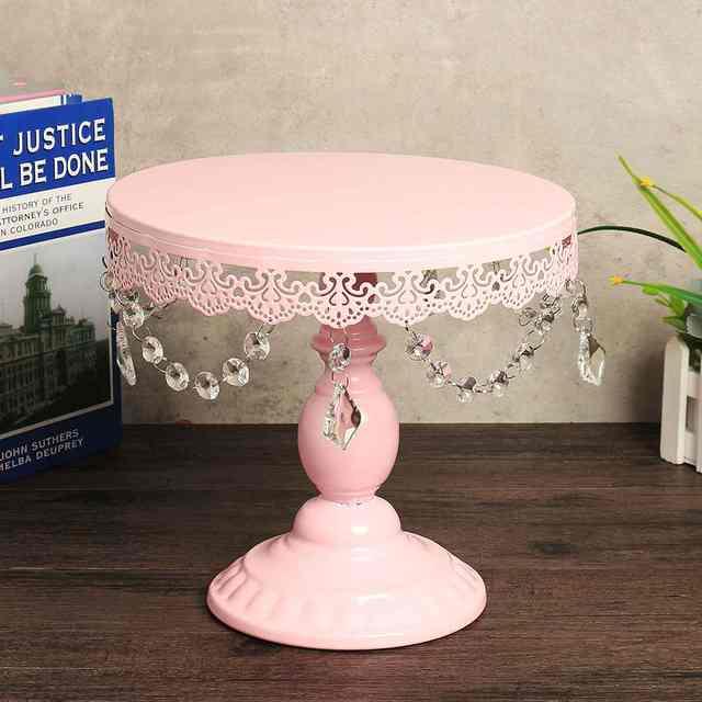 Pink Vintage Crystal Cake Stand
