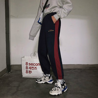 2018 Autumn and winter new Splicing color collision thickened casual pants Korean Edition Men's wear Hip hop Beam foot trousers