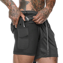 ASRV Men's Double layer Liner Style Training Fitness Sportswear Sweat Shorts Army