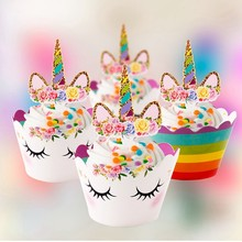 Pack Of 12pcs Unicorn Party Cupcake Toppers Wrappers Rainbow Baby Shower Kids Birthday Decoration Supplies