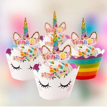 Pack Of 12pcs Unicorn Party Cupcake Toppers Wrappers Rainbow Party Baby Shower Kids Unicorn Birthday Party Decoration Supplies(China)