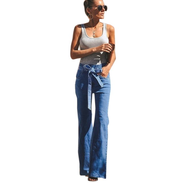 Women Fashion Wide Leg Flared Jeans Comfortable Loose Solid Color High Waist Zipper Pocket Trousers Jeans With Belt