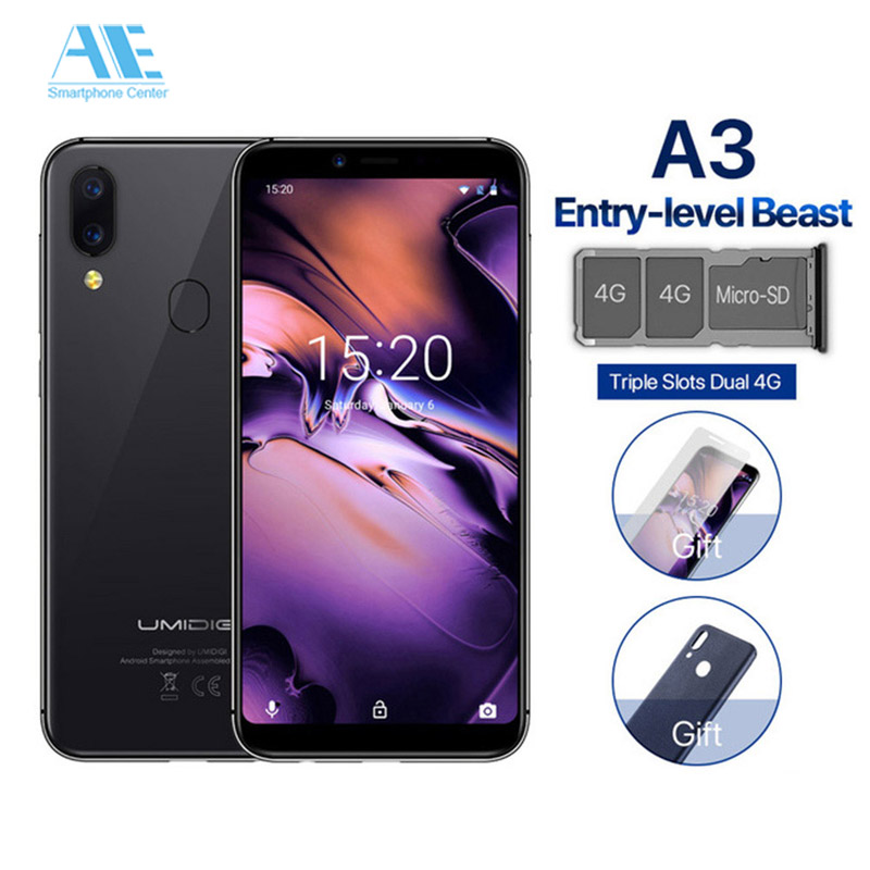"""UMIDIGI A3 5.5"""" incell HD+ display Global Band 2GB+16GB Smartphone Quad core Android 8.1 12MP+5MP Face ID Dual 4G Mobile phone"""