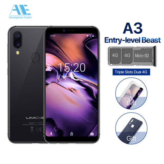 "UMIDIGI A3 5.5"" incell HD+ display Global Band 2GB+16GB Smartphone Quad core Android 8.1 12MP+5MP Face ID Dual 4G Mobile phone"