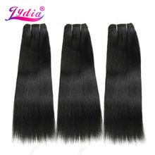 Lydia 人工毛エクステンション 3 ピース/ロットヘアウィービングストレート焼き 10 26 インチ 100% フューチュラ髪横糸 Natral 色バンドル