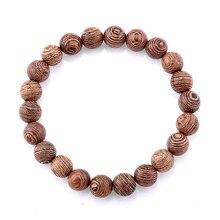8Mm Natuurlijke Wenge Hout Kralen Elastische Armband Voor Vrouw Mannen Boeddha Gebed Armband Sieraden Gift