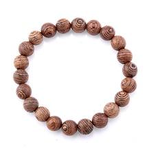 8mm Natural Wenge Wood Beaded Elastic Bracelet For Woman Men Buddha Prayer Bracelet Jewelry Gift