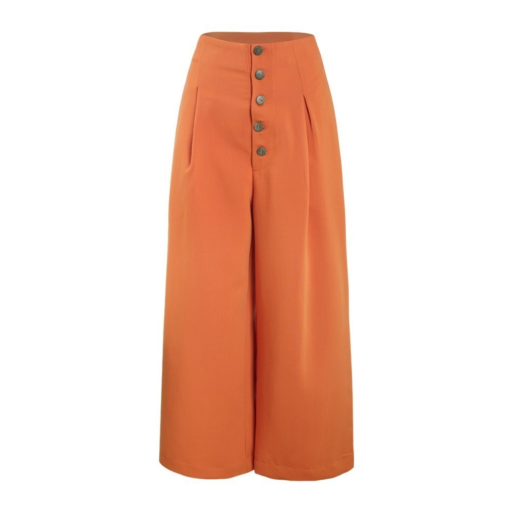 HDY Haoduoyi 2019  Euro-American Street Pure Leisure Broad-legged Button Decorative Pleats Loose Nine-minute Pants