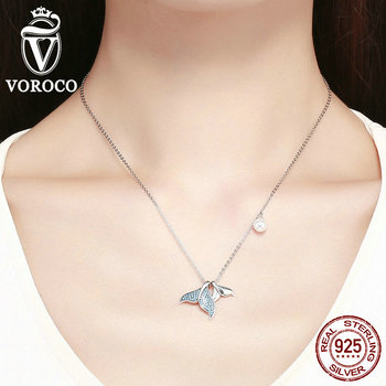 VOROCO 925 Sterling Silver Mermaid Tail Necklaces Pendant Jewelry Ocean Sea Blue Enamel Fish Women Silver Fine Jewelry BKN309
