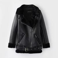 2018 Winter Leather Sheepskin Coats Inner Faux Fur Pujackets Female Thicken Warm Slim Overcoats Women Leather Fake Fur Outwear