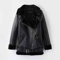 2019 Winter Leather Sheepskin Coats Inner Faux Fur Pujackets Female Thicken Warm Slim Overcoats Women Leather Fake Fur Outwear