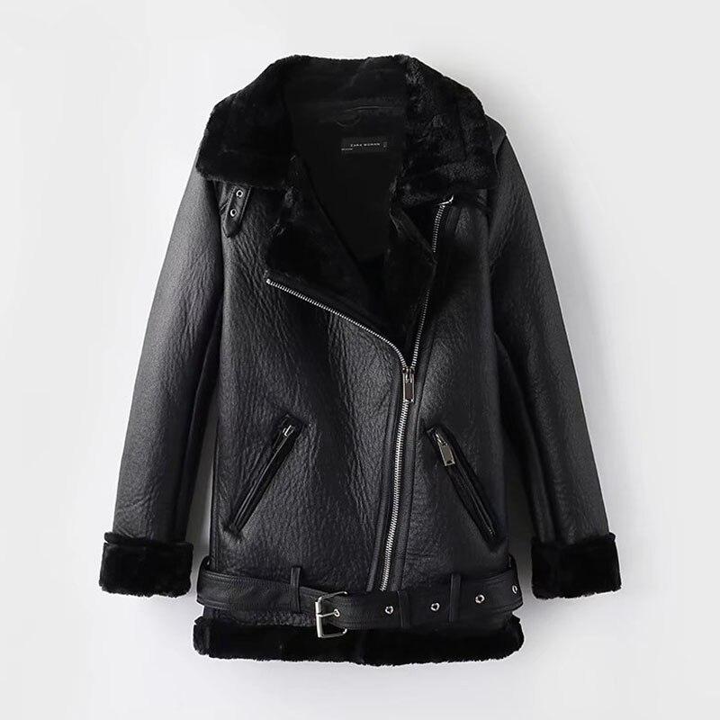 2020 Winter Leather Sheepskin Coats Inner Faux Fur Pujackets Female Thicken Warm Slim Overcoats Women Leather Fake Fur Outwear
