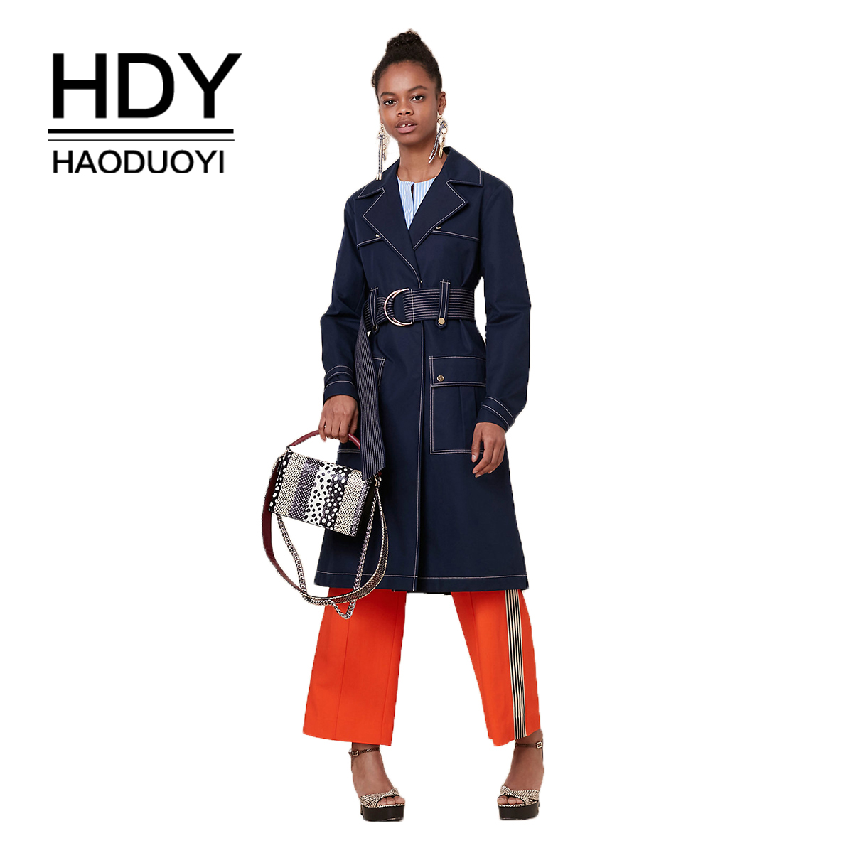HDY haoduoyi простой темперамент Стиль давление линии костюм воротник патч карман декоративный пояс тренчи для женщин пальто будущих мам