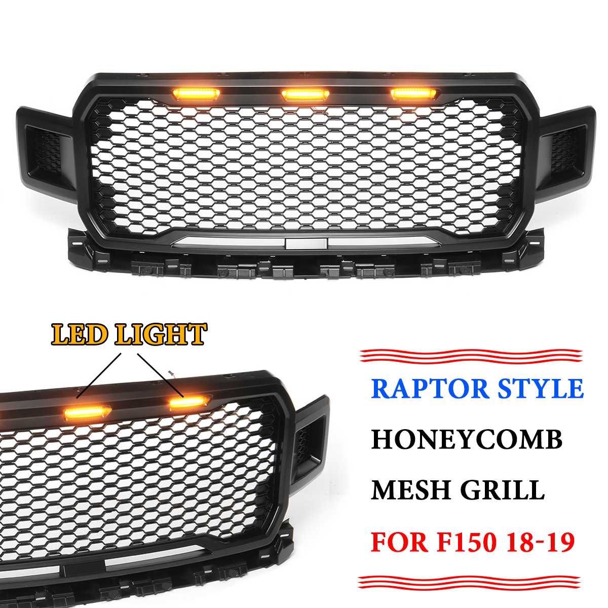 New Style Modified Front Racing Grille Raptor Grills Mask with LED light Fits For Ford F150 2018 2019 Auto Grille Accessories|Racing Grills| |  -