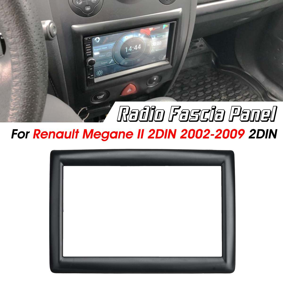 2 Din Car Stereo Radio Fascia Frame Panel Adapter Cover Trim For Renault Megane Ii 2003-2009 Exquisite Craftsmanship;