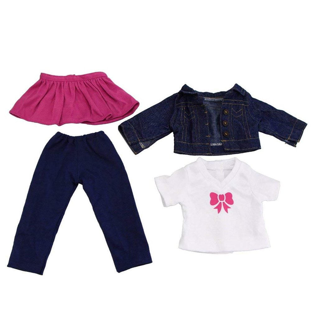 Dollhouse Miniature American girl denim 4 piece set pink skirt blue pants for Dollhouse Decor Kids ToyDollhouse Miniature American girl denim 4 piece set pink skirt blue pants for Dollhouse Decor Kids Toy