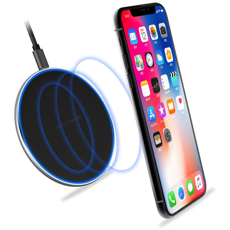 Lantro JS Quick Charger 3.0 QI Wireless Charger Round Thin Pad with 1 Meter USB to Type Cable Without Adapter