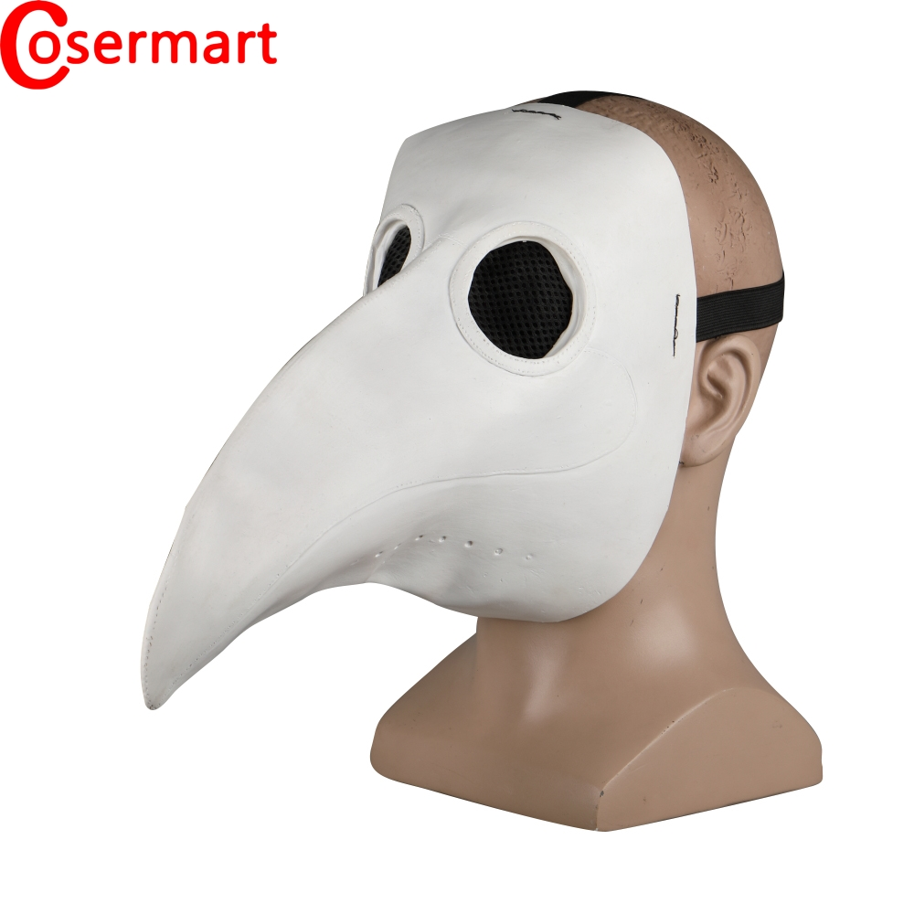 Cosermart Plague Doctor Mask Beak Mask Long Mouse Cosplay Fancy Mask Gothic Retro Rock Leather Halloween Beak Mask White